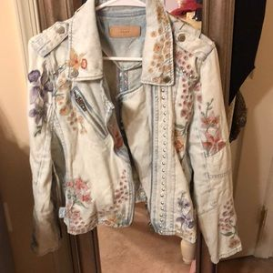 Embroidered blank jean jacket
